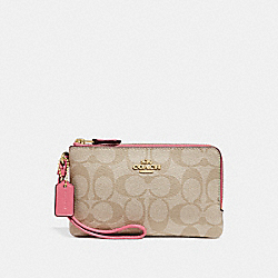 COACH F87591 Double Corner Zip Wristlet In Signature Canvas LIGHT KHAKI/PEONY/LIGHT GOLD