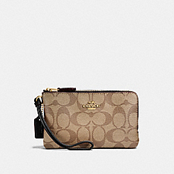COACH F87591 Double Corner Zip Wristlet In Signature Canvas KHAKI/BLACK/IMITATION GOLD