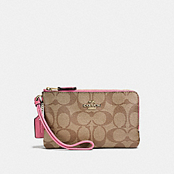 COACH F87591 Double Corner Zip Wristlet In Signature Canvas KHAKI/PINK RUBY/GOLD
