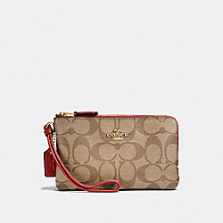 COACH F87591 Double Corner Zip Wristlet In Signature Canvas KHAKI/CHERRY/LIGHT GOLD
