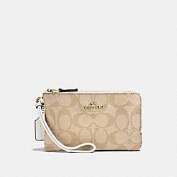 COACH F87591 Double Corner Zip Wristlet In Signature Canvas LIGHT KHAKI/CHALK/LIGHT GOLD