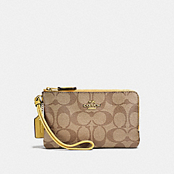 COACH F87591 Double Corner Zip Wristlet In Signature Canvas KHAKI/SUNFLOWER/GOLD