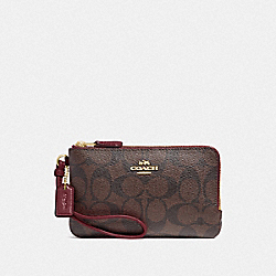 COACH F87591 - DOUBLE CORNER ZIP WRISTLET IN SIGNATURE CANVAS IM/BROWN/WINE