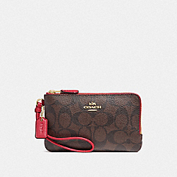 COACH F87591 Double Corner Zip Wristlet In Signature Canvas BROWN/TRUE RED/LIGHT GOLD