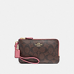 COACH F87591 Double Corner Zip Wristlet In Signature Canvas BROWN/STRAWBERRY/IMITATION GOLD