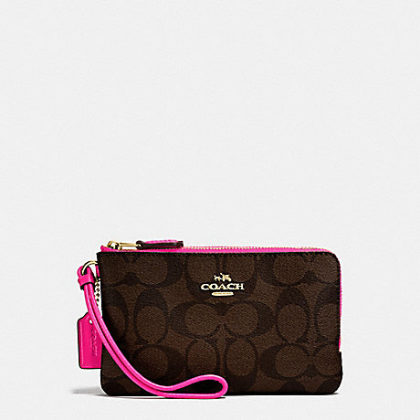 1ffdbbb1cf COACH f87591 DOUBLE CORNER ZIP WALLET IN SIGNATURE COATED CANVAS IMITATION  GOLD BROWN