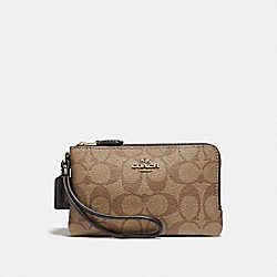 COACH F87591 Double Corner Zip Wallet In Signature Coated Canvas LIGHT GOLD/KHAKI