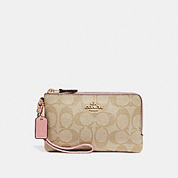 COACH F87591 Double Corner Zip Wristlet In Signature Canvas LIGHT KHAKI/VINTAGE PINK/IMITATION GOLD