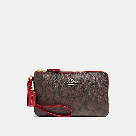 COACH F87591 DOUBLE CORNER ZIP WRISTLET IN SIGNATURE CANVAS BROWN/RUBY/IMITATION GOLD