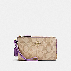 COACH F87591 Double Corner Zip Wristlet In Signature Canvas LIGHT KHAKI/PRIMROSE/IMITATION GOLD