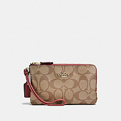 COACH F87591 Double Corner Zip Wristlet In Signature Canvas LIGHT KHAKI/ROUGE/GOLD