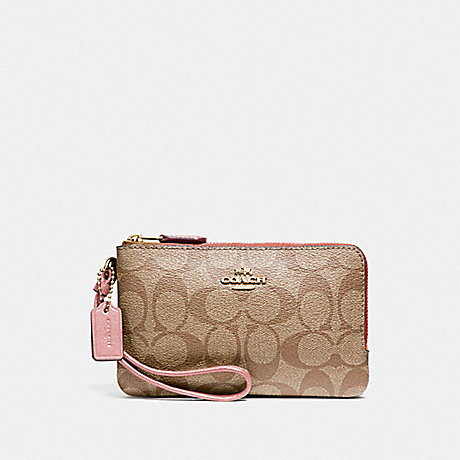 COACH F87591 DOUBLE CORNER ZIP WRISTLET IN SIGNATURE CANVAS IM/KHAKI PINK PETAL