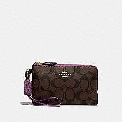 COACH F87591 Double Corner Zip Wristlet In Signature Canvas IM/BROWN METALLIC BERRY