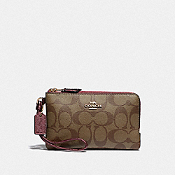 COACH F87591 Double Corner Zip Wristlet In Signature Canvas IM/KHAKI METALLIC WINE