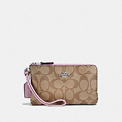 COACH F87591 Double Corner Zip Wristlet In Signature Canvas KHAKI/LILAC/SILVER
