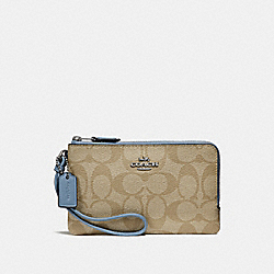 COACH F87591 Double Corner Zip Wristlet In Signature Canvas LIGHT KHAKI/POOL/SILVER