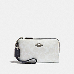 COACH F87591 Double Corner Zip Wristlet In Signature Canvas CHALK/MIDNIGHT/SILVER