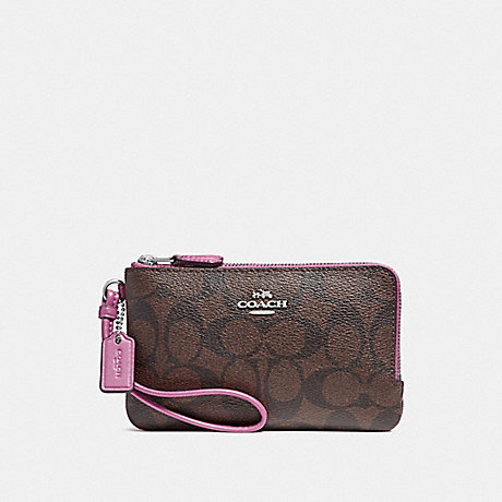 COACH f87591 DOUBLE CORNER ZIP WRISTLET IN SIGNATURE CANVAS brown/Azalea/silver