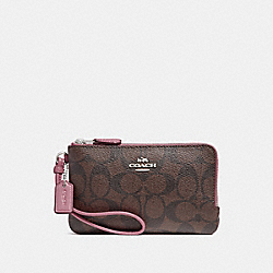 COACH F87591 Double Corner Zip Wristlet In Signature Canvas BROWN/DUSTY ROSE/SILVER