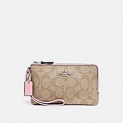 COACH F87591 Double Corner Zip Wristlet In Signature Canvas LIGHT KHAKI/CARNATION/SILVER