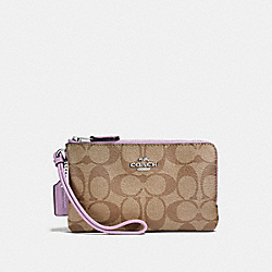 COACH F87591 Double Corner Zip Wristlet In Signature Canvas KHAKI/JASMINE/SILVER