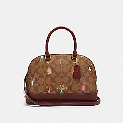 MINI SIERRA SATCHEL IN SIGNATURE CANVAS WITH PARTY ANIMALS PRINT - F87661 - IM/KHAKI PINK MULTI