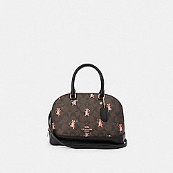 MINI SIERRA SATCHEL IN SIGNATURE CANVAS WITH PARTY MOUSE PRINT - F87662 - IM/BROWN PINK MULTI