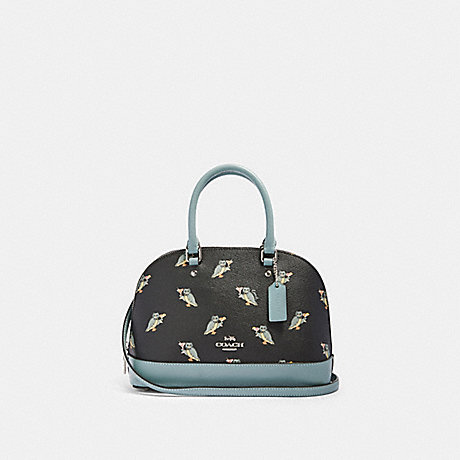 COACH F87663 MINI SIERRA SATCHEL WITH PARTY OWL PRINT SV/BLACK-MULTI