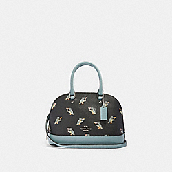 MINI SIERRA SATCHEL WITH PARTY OWL PRINT - F87663 - SV/BLACK MULTI