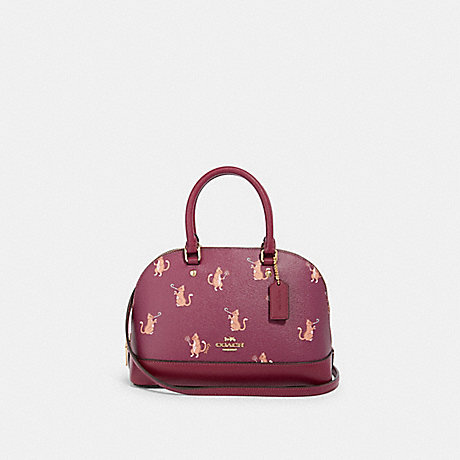 COACH F87664 MINI SIERRA SATCHEL WITH PARTY CAT PRINT IM/DARK-BERRY-MULTI