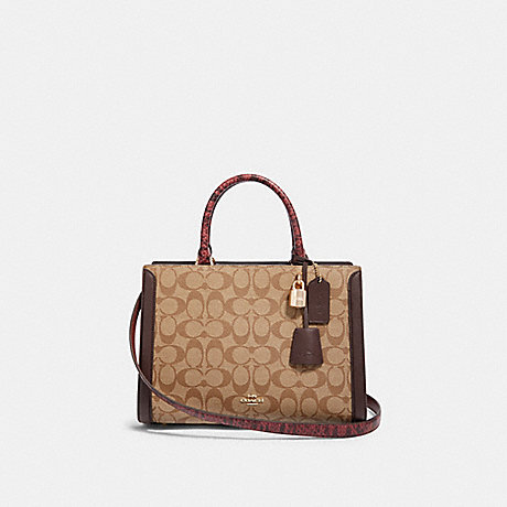 COACH F87665 ZOE CARRYALL IN SIGNATURE CANVAS IM/KHAKI-MULTI