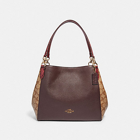 COACH F87666 HALLIE SHOULDER BAG IN SIGNATURE CANVAS IM/KHAKI-MULTI
