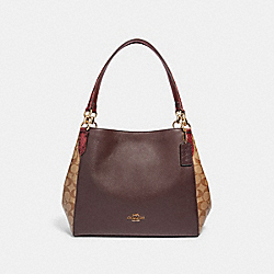 COACH F87666 - HALLIE SHOULDER BAG IN SIGNATURE CANVAS IM/KHAKI MULTI