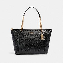 COACH F87673 Ava Chain Tote In Signature Leather IM/BLACK