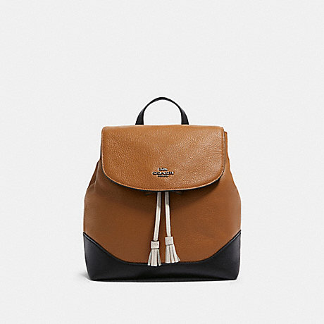 COACH F87676 JADE BACKPACK IN COLORBLOCK QB/LIGHT-SADDLE-MULTI