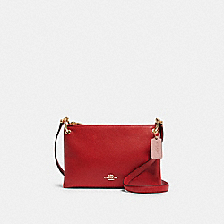 COACH F87680 Mia Crossbody In Colorblock Signature Canvas IM/TRUE RED MULTI