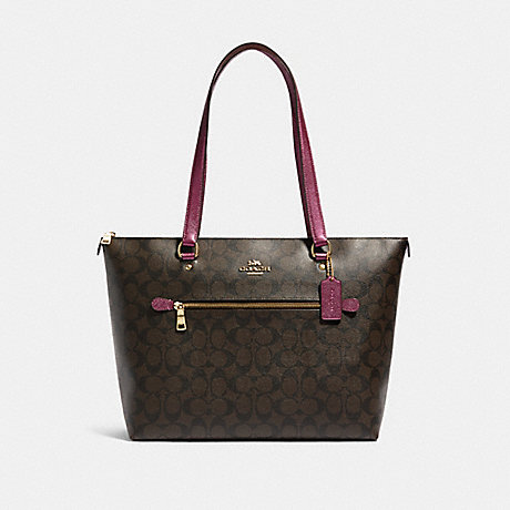 COACH F87701 GALLERY TOTE IN SIGNATURE CANVAS IM/BROWN-METALLIC-BERRY