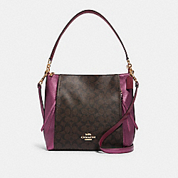 COACH F87702 Marlon Hobo In Signature Canvas IM/BROWN METALLIC BERRY