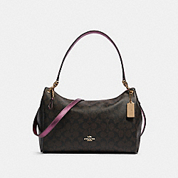 MIA SHOULDER BAG IN SIGNATURE CANVAS - F87703 - IM/BROWN METALLIC BERRY