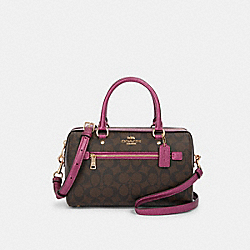 ROWAN SATCHEL IN SIGNATURE CANVAS - F87705 - IM/BROWN METALLIC BERRY
