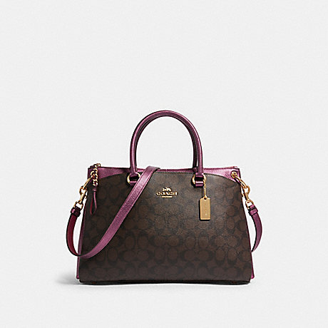 COACH F87706 MIA SATCHEL IN SIGNATURE CANVAS IM/BROWN-METALLIC-BERRY