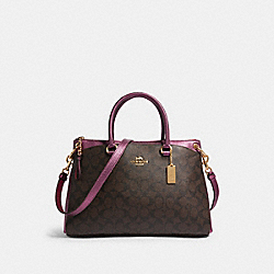 MIA SATCHEL IN SIGNATURE CANVAS - F87706 - IM/BROWN METALLIC BERRY