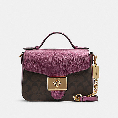 COACH F87708 CASSIDY TOP HANDLE CROSSBODY IN SIGNATURE CANVAS IM/BROWN-METALLIC-BERRY