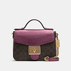 CASSIDY TOP HANDLE CROSSBODY IN SIGNATURE CANVAS - F87708 - IM/BROWN METALLIC BERRY