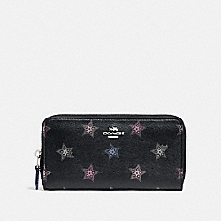COACH F87714 - ACCORDION ZIP WALLET WITH DOT STAR PRINT SV/BLACK MULTI