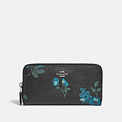 COACH F87715 Accordion Zip Wallet With Victorian Floral Print SV/BLUE BLACK MULTI
