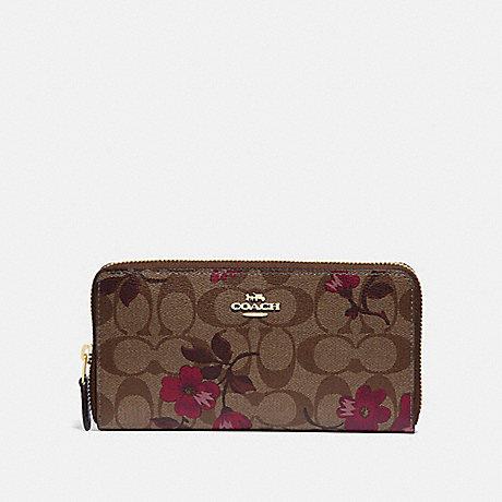 COACH F87716 ACCORDION ZIP WALLET IN SIGNATURE CANVAS WITH VICTORIAN FLORAL PRINT IM/KHAKI BERRY MULTI