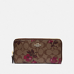 ACCORDION ZIP WALLET IN SIGNATURE CANVAS WITH VICTORIAN FLORAL PRINT - F87716 - IM/KHAKI BERRY MULTI