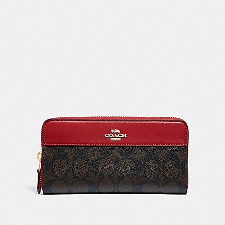 COACH F87717 BOXED ACCORDION ZIP WALLET IN SIGNATURE CANVAS WITH STRIPE IM/BROWN TRUE RED