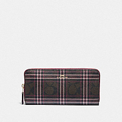 SLIM ACCORDION ZIP WALLET IN SIGNATURE CANVAS WITH SHIRTING PLAID PRINT - F87718 - IM/BROWN FUCHSIA MULTI